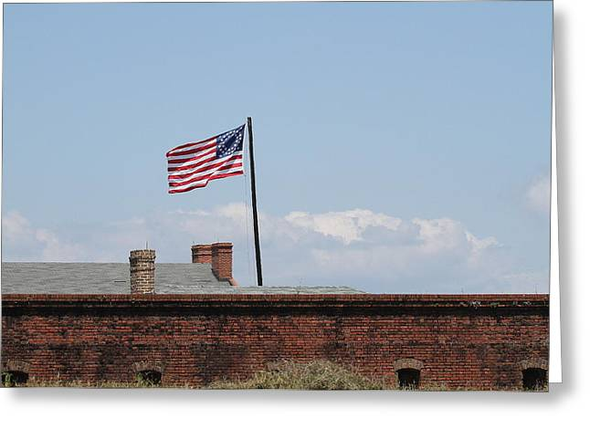 Civil War Battle Site Greeting Cards - Fort Clinch and US Flag Greeting Card by Cathy Lindsey