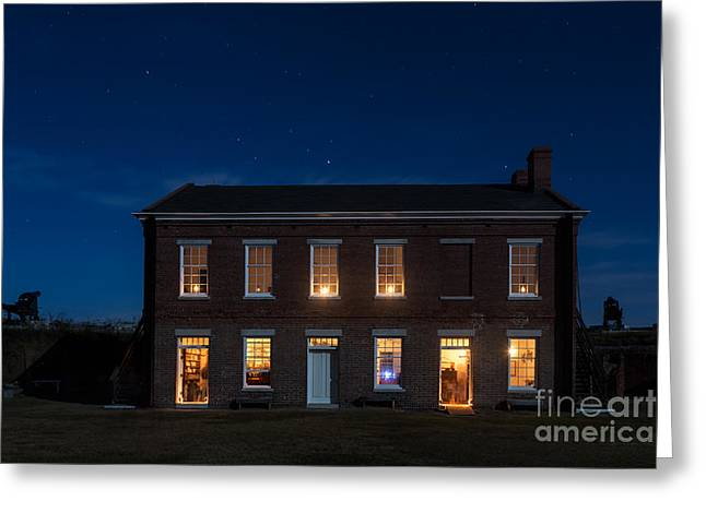 Beach At Night Greeting Cards - Fort Clinch by Moonlight Amelia Island Florida Greeting Card by Dawna  Moore Photography