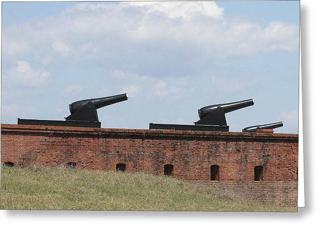 Civil War Battle Site Greeting Cards - Fort Clinch Cannons Greeting Card by Cathy Lindsey