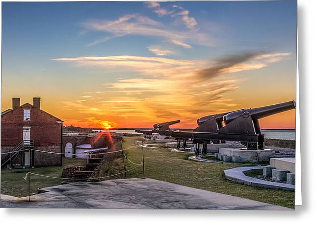 Confederate Monument Greeting Cards - Fort Clinch Sunset Greeting Card by Rob Sellers