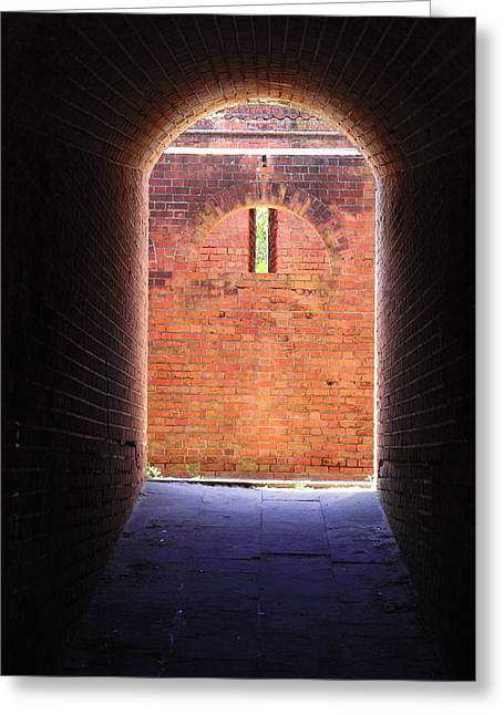 Civil War Battle Site Greeting Cards - Fort Clinch Tunnel 2 Greeting Card by Cathy Lindsey