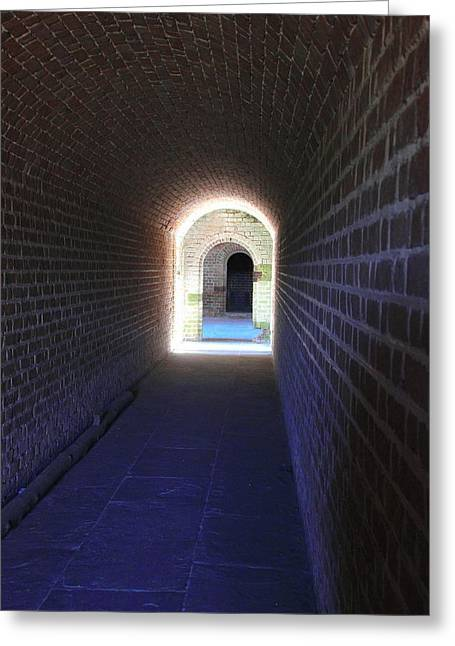 Civil War Battle Site Greeting Cards - Fort Clinch Tunnel 3 Greeting Card by Cathy Lindsey