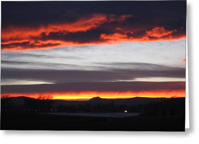 Fort Collins Greeting Cards - Fort Collins CO Sunset in February Greeting Card by Tammy Sutherland