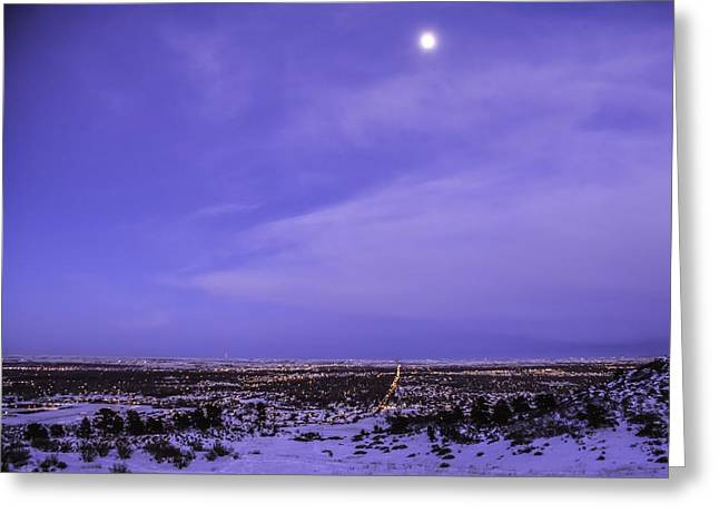 Fort Collins Greeting Cards - Fort Collins Winter moon Greeting Card by Trish Kusal