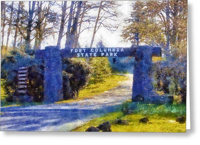 Lewis Gun Greeting Cards - Fort Columbia Entrance Greeting Card by Kaylee Mason
