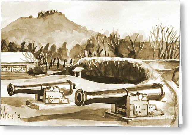 Mountain Valley Mixed Media Greeting Cards - Fort Davidson Cannon IV Greeting Card by Kip DeVore