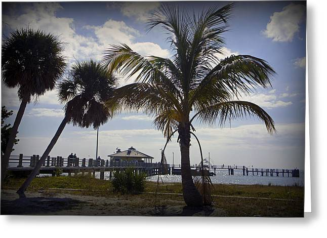 St Petersburg Florida Greeting Cards - Fort DeSota Fishing Pier Greeting Card by Laurie Perry