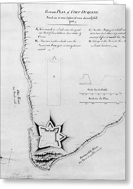 1750s Greeting Cards - Fort Duquesne: Map Greeting Card by Granger