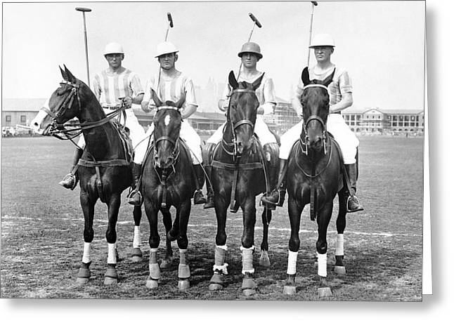 Governor Island Greeting Cards - Fort Hamilton Polo Team Greeting Card by Underwood Archives