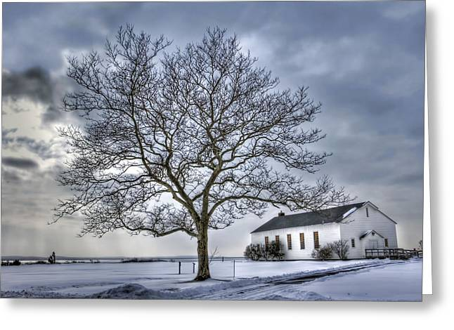 Base Path Greeting Cards - Fort Hancock chapel Greeting Card by Geraldine Scull