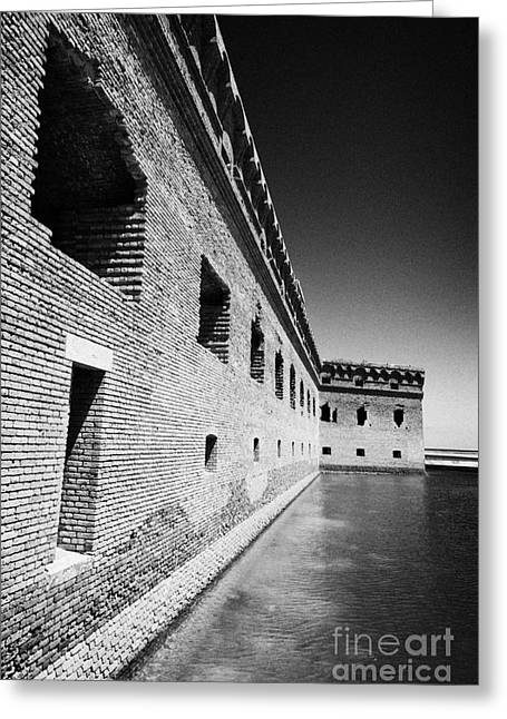 Fort Jefferson Greeting Cards - Fort Jefferson Brick Walls With Moat Dry Tortugas National Park Florida Keys Usa Greeting Card by Joe Fox
