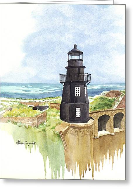 Dry Tortugas Paintings Greeting Cards - Fort Jefferson Light House Greeting Card by Willa Campbell