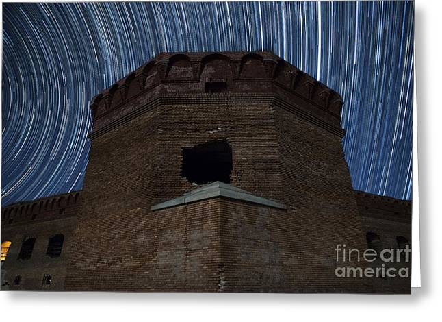 Stars Trail Greeting Cards - Fort Jefferson Nights Greeting Card by Keith Kapple
