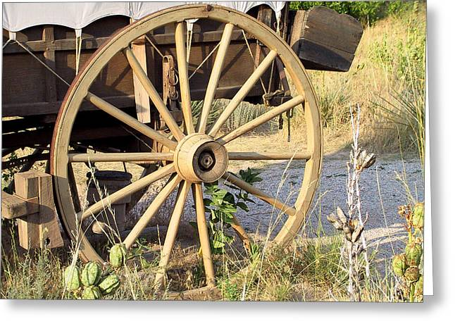 Spokes Greeting Cards - Fort Laramie WY - Moving west on wagon wheels Greeting Card by Christine Till