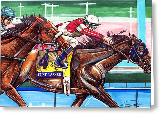 Horse Racing Prints Greeting Cards - Fort Larned Greeting Card by Dave Olsen