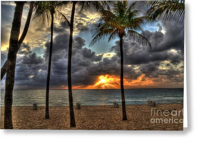 Beach Photography Greeting Cards - Fort Lauderdale Beach Florida - Sunrise Greeting Card by Timothy Lowry