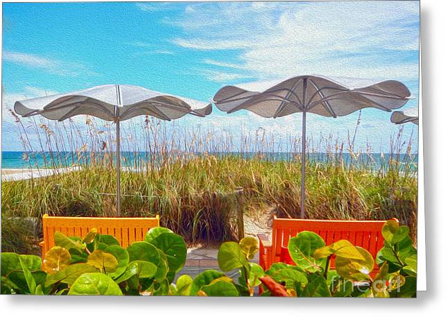 Sea Oats Mixed Media Greeting Cards - Fort Lauderdale Beach Greeting Card by Mary Ann Tardif