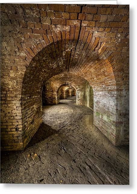 Confederate Flag Photographs Greeting Cards - Fort Macomb Arches Vertical Greeting Card by David Morefield