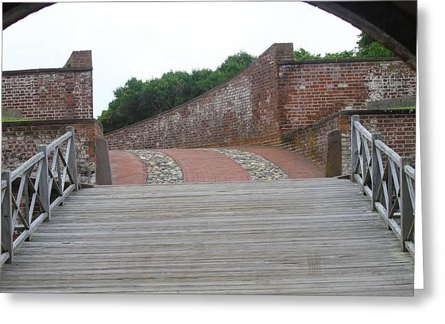 Civil War Battle Site Greeting Cards - Fort Macon Drawbridge Greeting Card by Cathy Lindsey