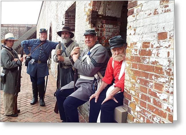 Colonial Actors Greeting Cards - Fort Moran Military Actors Greeting Card by Cindy Croal