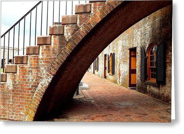 Colonial Actors Greeting Cards - Fort Moran Stairway to Cannons Greeting Card by Cindy Croal
