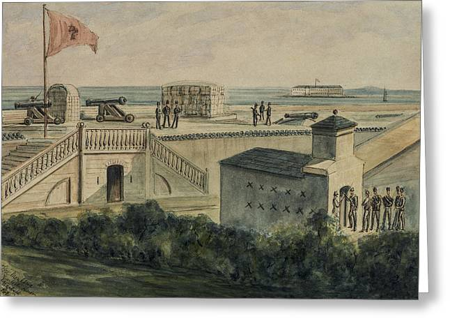 Fort Moultrie circa 1861 Greeting Card by Aged Pixel
