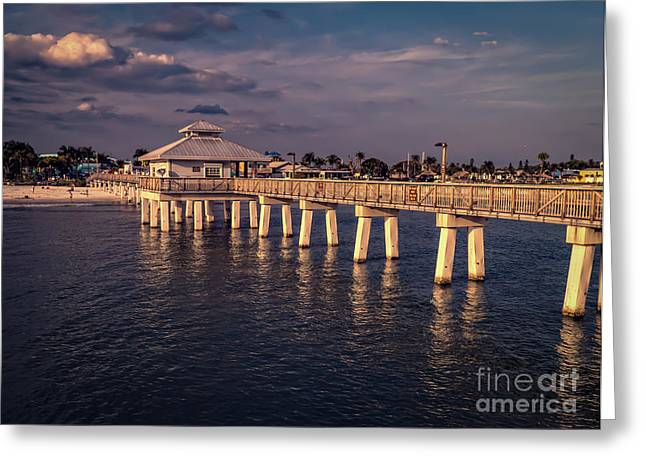 Fort Meyers Greeting Cards - Fort Myers Beach Fishing Pier Greeting Card by Edward Fielding