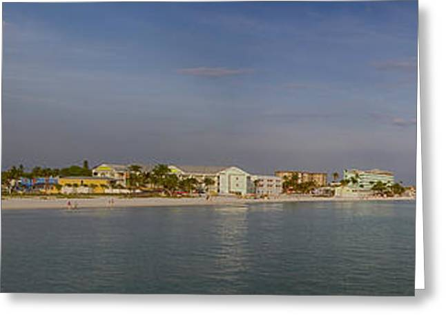 Carlos Lee Greeting Cards - Fort Myers Beach Panorama Greeting Card by Anne Rodkin