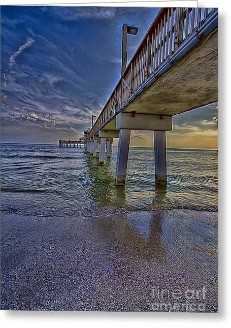 Carlos Lee Greeting Cards - Fort Myers Beach Pier Greeting Card by Anne Rodkin
