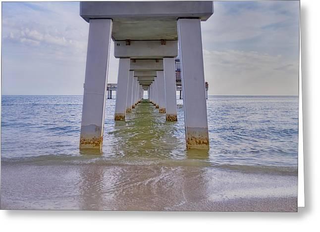 Kim Photographs Greeting Cards - Fort Myers Beach Pier Greeting Card by Kim Hojnacki