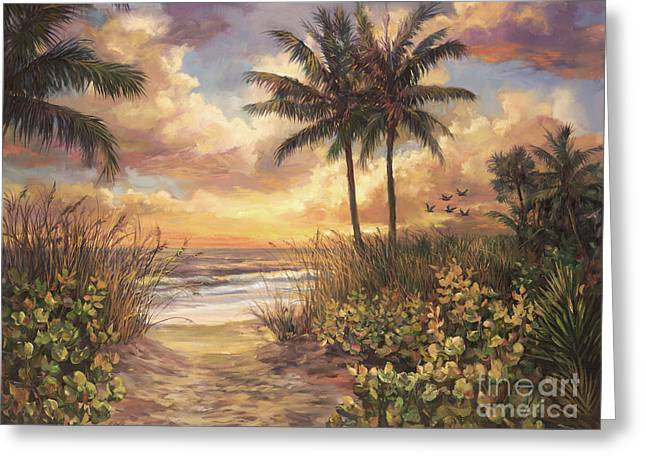 Walkway Greeting Cards - Fort Myers Sunset Greeting Card by Laurie Hein