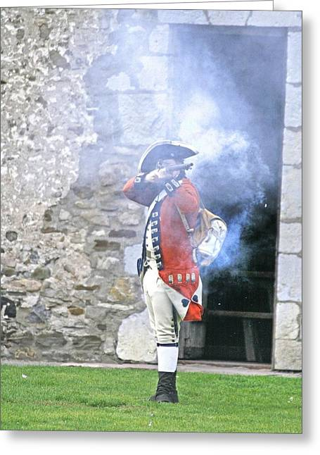 Reenact Greeting Cards - Fort Niagara Soldier Greeting Card by Michael Allen