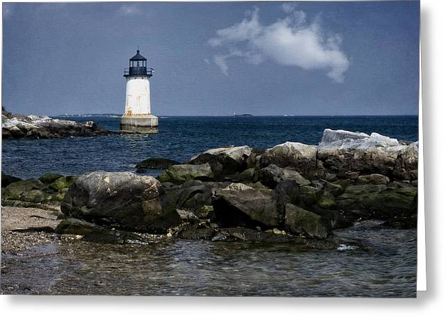 Historic Ship Greeting Cards - Fort Pickering Light Greeting Card by Joan Carroll