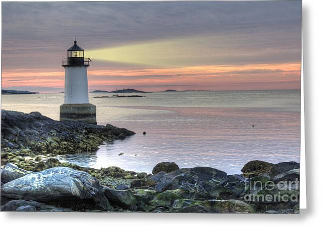 Winter Travel Greeting Cards - Fort Pickering Lighthouse at Sunrise Greeting Card by Juli Scalzi