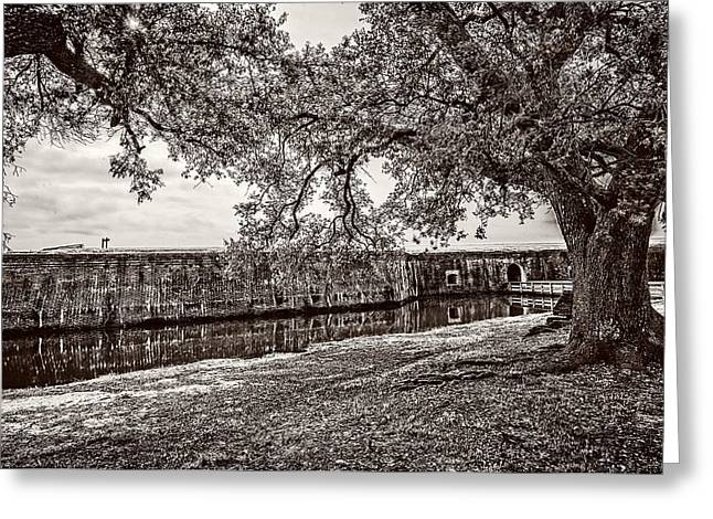 Louisiana Greeting Cards - Fort Pike approach - sepia Greeting Card by Andy Crawford