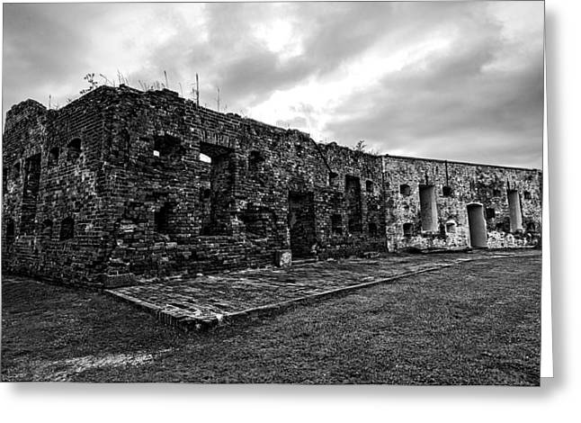 Civil War Site Greeting Cards - Fort Pike in black and white Greeting Card by Andy Crawford