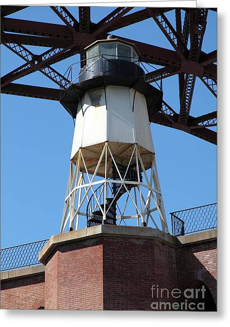 Frisco Pier Greeting Cards - Fort Point Light House and The Golden Gate Bridge 5D21486 Greeting Card by Wingsdomain Art and Photography