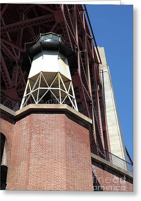 Frisco Pier Greeting Cards - Fort Point Light House and The Golden Gate Bridge 5D21514 Greeting Card by Wingsdomain Art and Photography