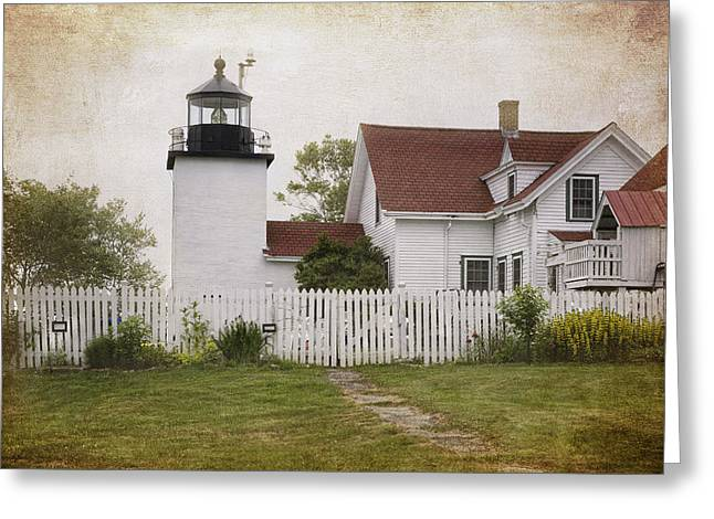 Maine Spring Greeting Cards - Fort Point Lighthouse Greeting Card by Joan Carroll