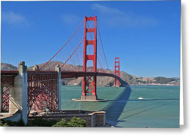Grey Pyrography Greeting Cards - Fort Point to Fort Baker Greeting Card by DUG Harpster