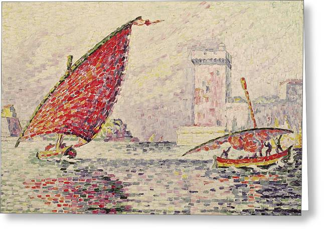 Sailing Boat Greeting Cards - Fort Saint-jean, Marseilles, 1907 Oil On Canvas Greeting Card by Paul Signac