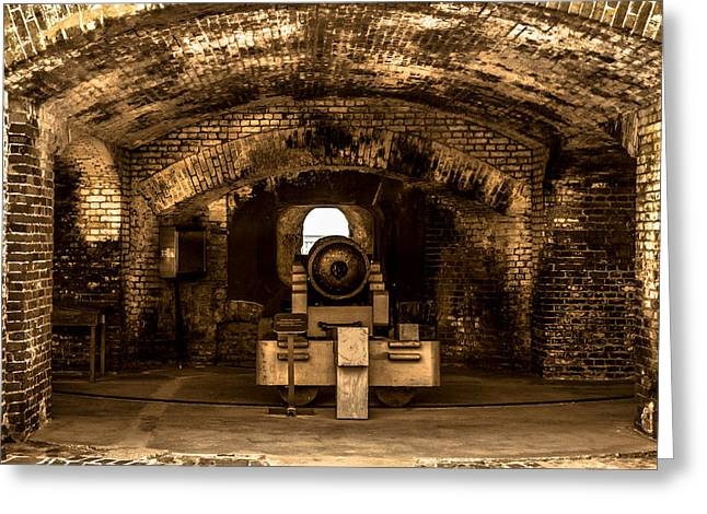 Statue Of Confederate Soldier Greeting Cards - Fort Sumter Famous Cannon Greeting Card by Optical Playground By MP Ray