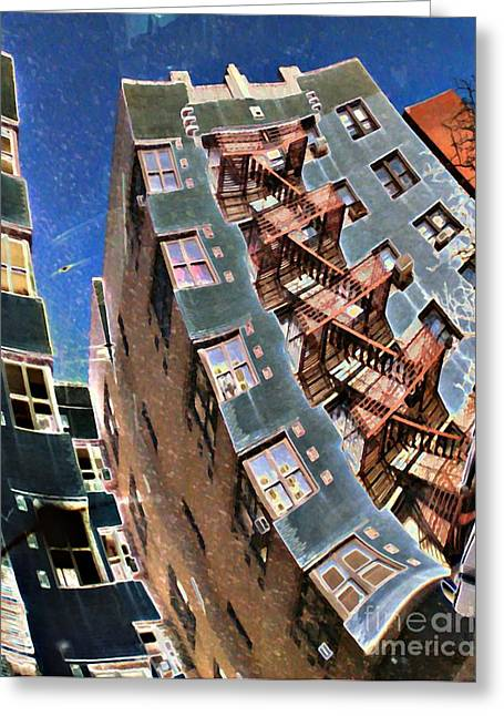 Washington Heights Greeting Cards - Fort Washington Avenue Building Greeting Card by Sarah Loft