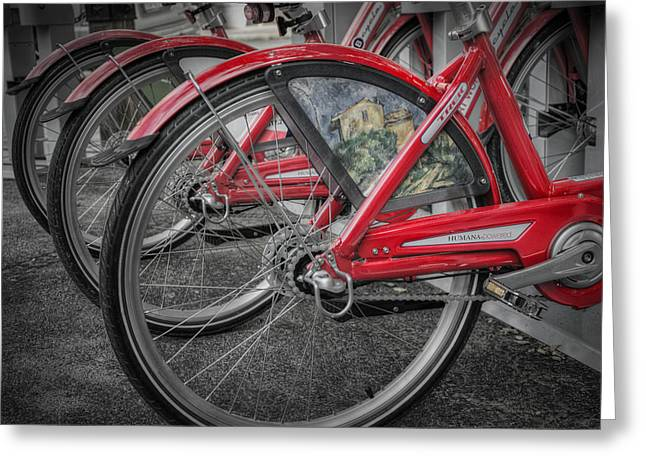Rack Greeting Cards - Fort Worth Bikes Greeting Card by Joan Carroll