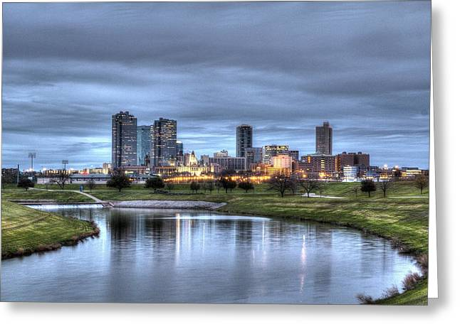 Skyline Greeting Cards - Fort Worth Color Greeting Card by Jonathan Davison