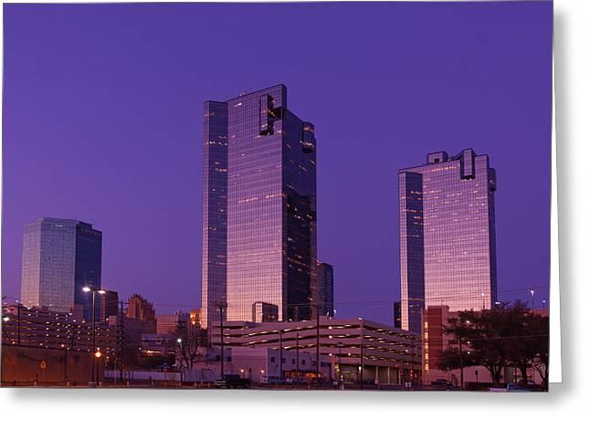 Metroplex Greeting Cards - Fort Worth Downtown Sunrise Greeting Card by Jonathan Davison