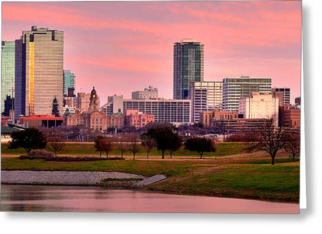 Ft Worth Greeting Cards - Fort Worth Skyline at Dusk Evening Color Evening Panorama Ft Worth Texas  Greeting Card by Jon Holiday
