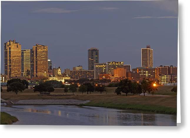 Metroplex Greeting Cards - Fort Worth Skyline Golden Hour Greeting Card by Jonathan Davison