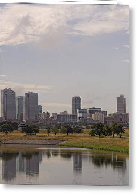 Metroplex Greeting Cards - Fort Worth Skyline Partly Cloudy Greeting Card by Jonathan Davison