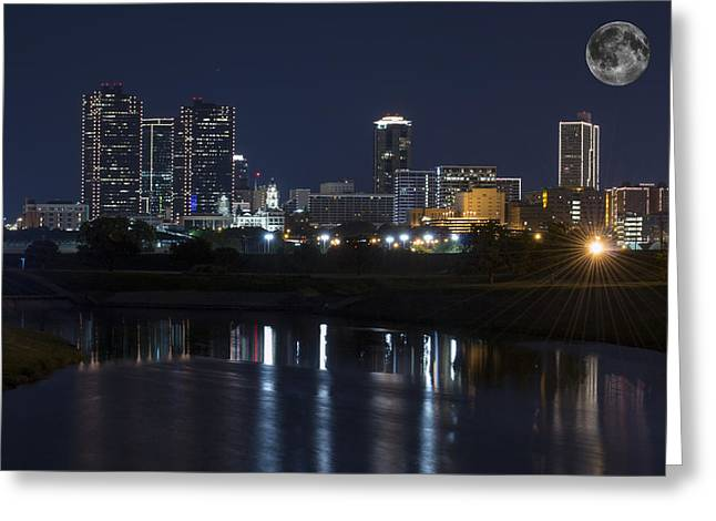 Fort River Greeting Cards - Fort Worth Skyline Super Moon Greeting Card by Jonathan Davison